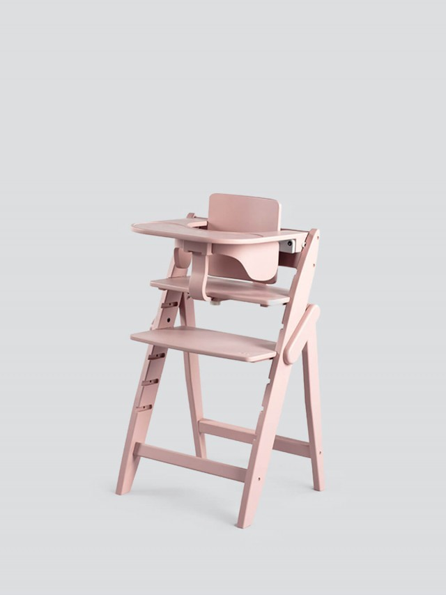moji 全成長型原木高腳椅套組 - 芭蕾粉