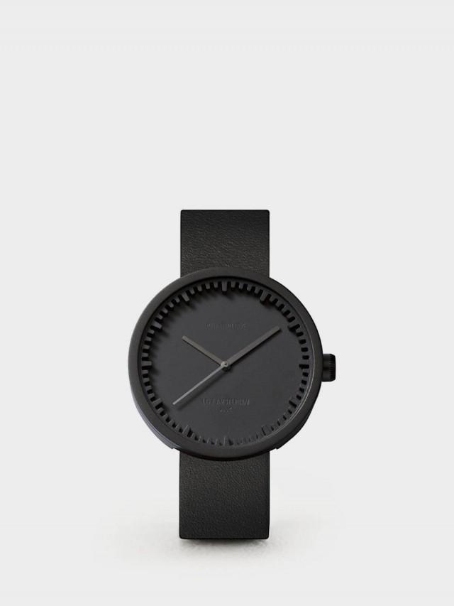 LEFF amsterdam tube 北歐工業齒輪設計真皮腕錶 - 42 mm 霧黑 / 黑皮帶