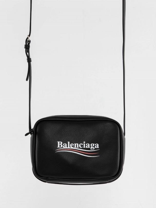 BALENCIAGA EVERYDAY 系列品牌字母烙印白紅白流線小牛皮斜背包 - 黑