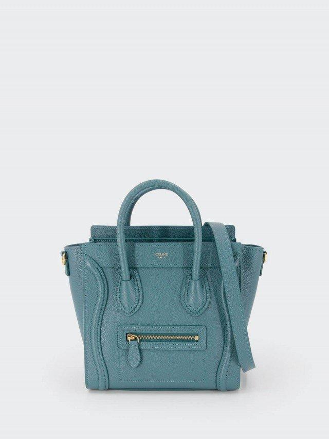 CELINE Nano Luggage 荔枝紋牛皮金釦手提冏包 x PRUSSIAN BLUE