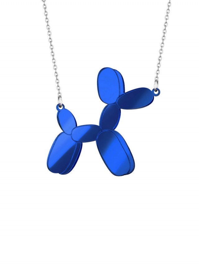 MONOLAMA 鏡面反光材質氣球狗項鏈 - 深藍