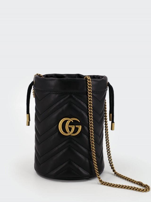 GUCCI Marmont GG 束口水桶包斜背包側背包 - mini x 黑色