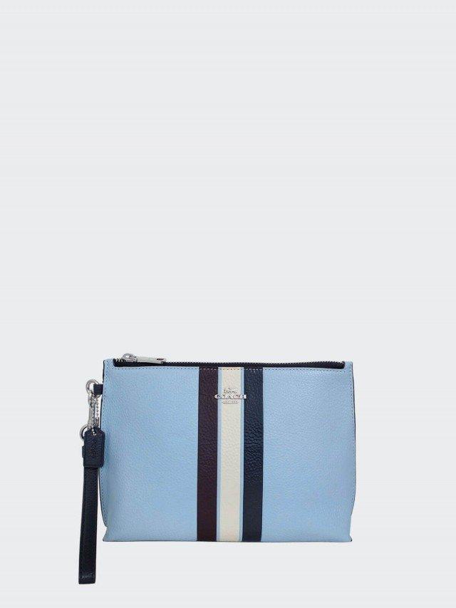 COACH 水藍拼色條紋全皮寬底大款手拿包