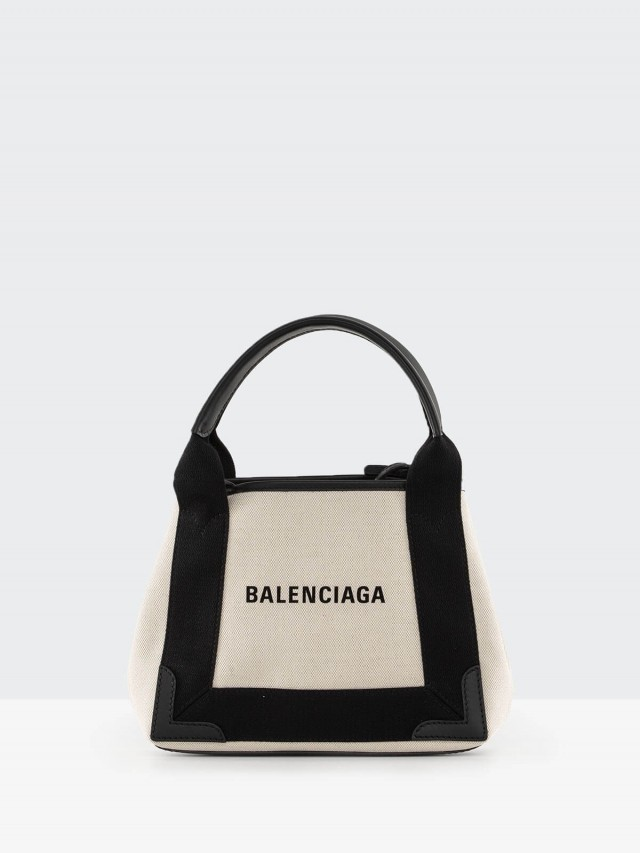 BALENCIAGA 新版 Navy Cabas 帆布子母兩用包 - xs x 黑白