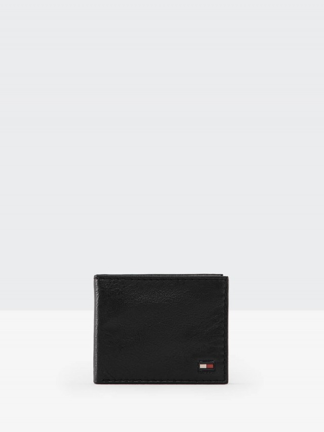 Tommy Hilfiger 黑色全皮紅白旗幟短夾 - 附獨立卡夾