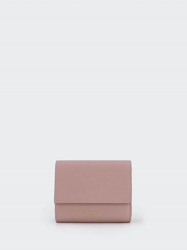 CELINE 經典粒面牛皮小款三折短夾 x 復古粉紅色