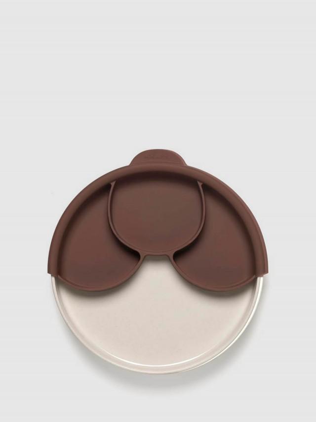 Miniware 天然寶貝碗 兒童分隔餐盤組 - 牛奶麵包盤 / 深可可分隔盤