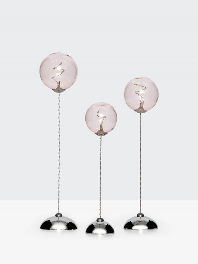 SIRIUS 粉色透明球燈三件組( 遙控 )