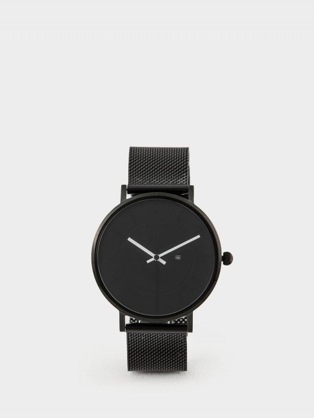 PICONO RGB 系列 - 輕薄黑色快拆式不鏽鋼網帶手錶 - 獨特黑