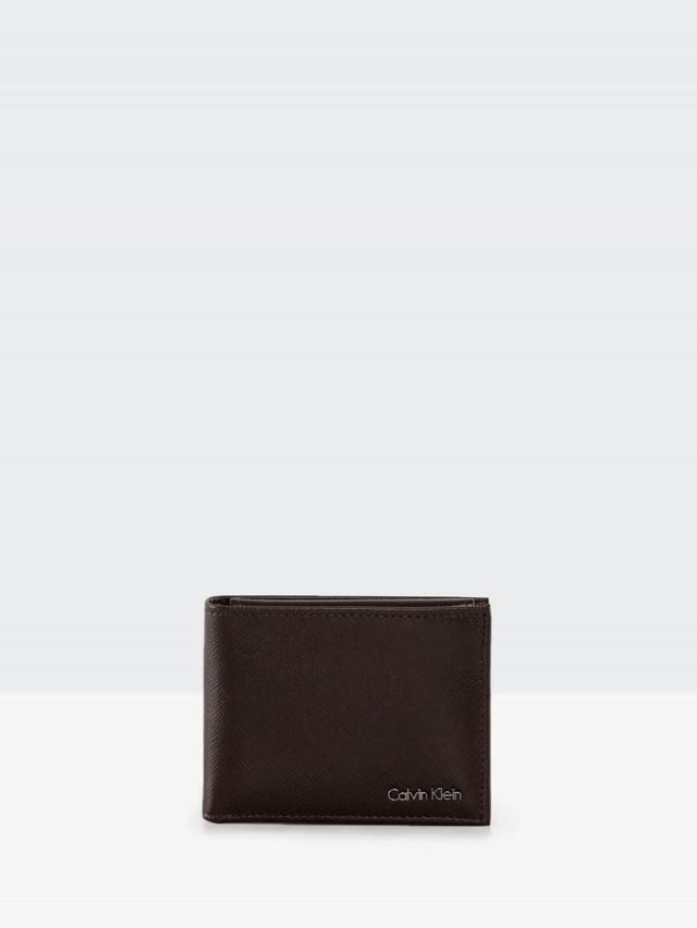 Calvin Klein 紅咖防刮真皮附活動卡夾雙折短夾