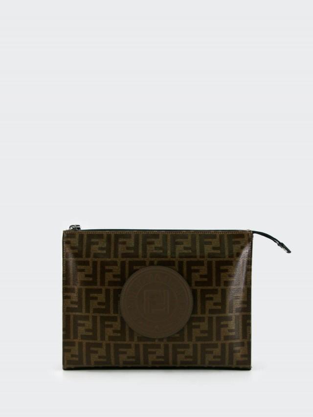 FENDI 皮革徽章牛皮飾邊帆布拉鍊手拿包 - 棕