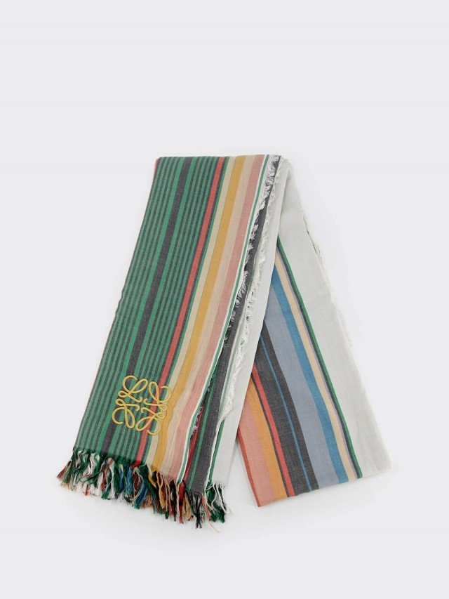 LOEWE 品牌刺繡 LOGO 棉麻直條紋大款圍巾