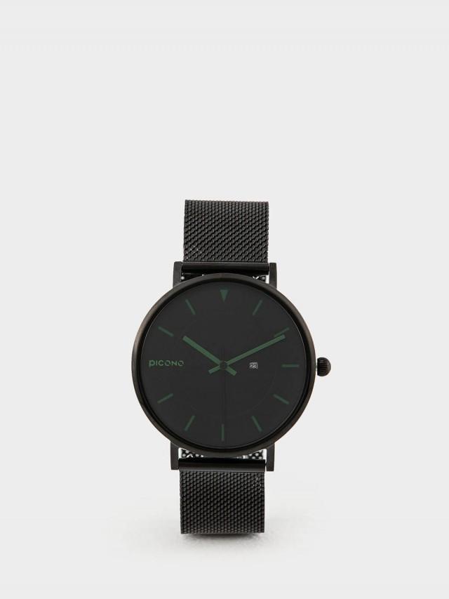 PICONO RGB 系列 -  輕薄黑色快拆式不鏽鋼網帶手錶 - 大地綠