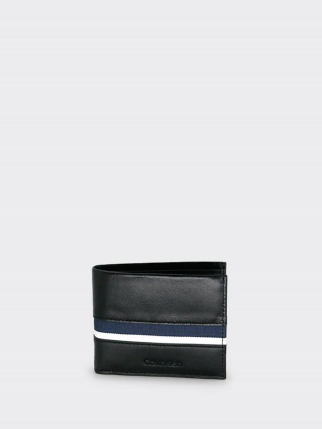 Calvin Klein CK 全皮拼接藍條紋雙折短夾 x 黑