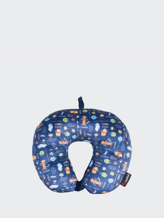 CROWN Disney 旅行紓壓頸枕 - 藍色花園維尼小熊