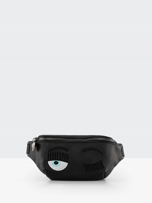 CHIARA FERRAGNI 眨眼皮革腰包 / 側背包 - 黑