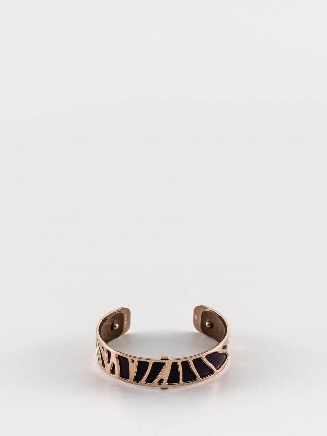 Les Georgettes 玫金色細版鸚鵡紋手環 + 細版手環皮革深紫 / 淺棕
