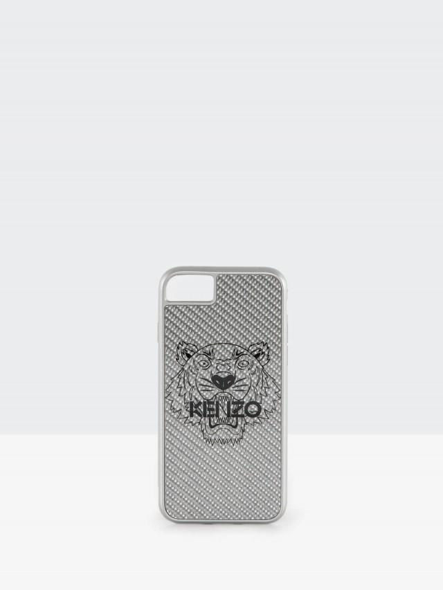 KENZO 新款金屬 3D 印虎頭軟膠邊 iPhone 7 / 8 手機殼 x 銀色