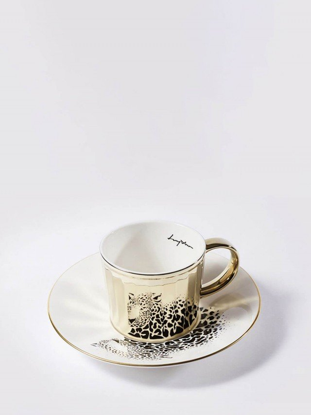 Luycho 鏡面倒影動物圖案咖啡杯 - 美洲豹 ( 滑面 )