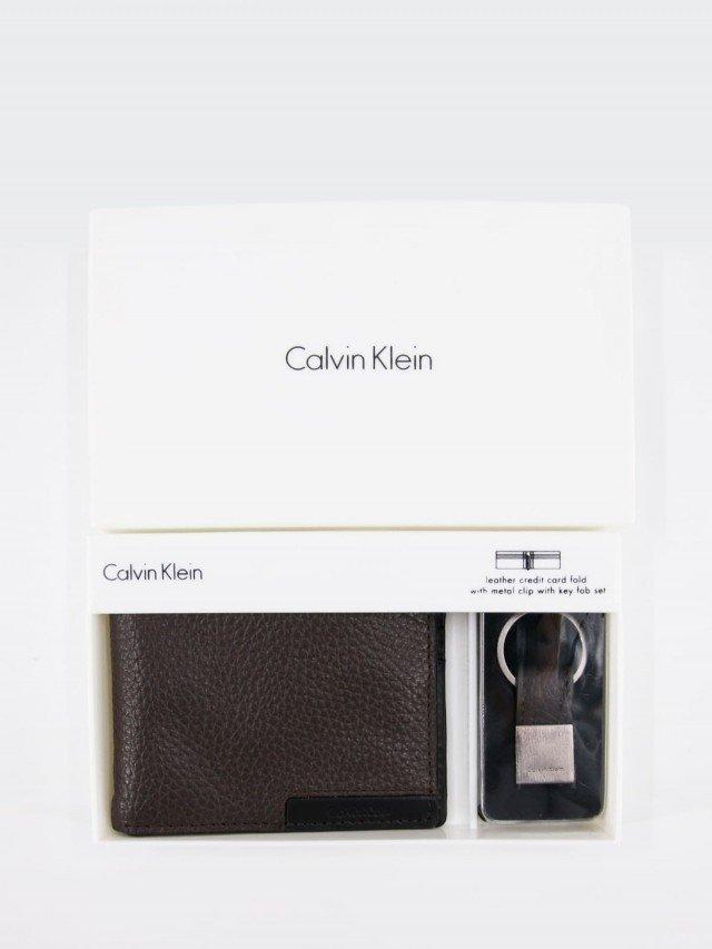 Calvin Klein 深咖啡黑色撞色皮革皮夾鑰匙圈禮盒