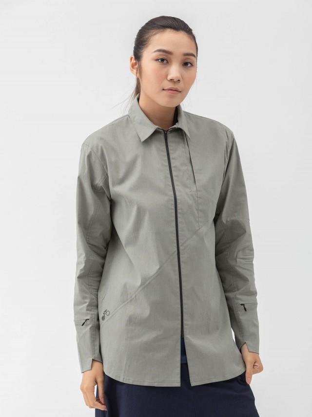 WEAVISM 【走上坡】門襟拉鍊襯衫 - 灰綠