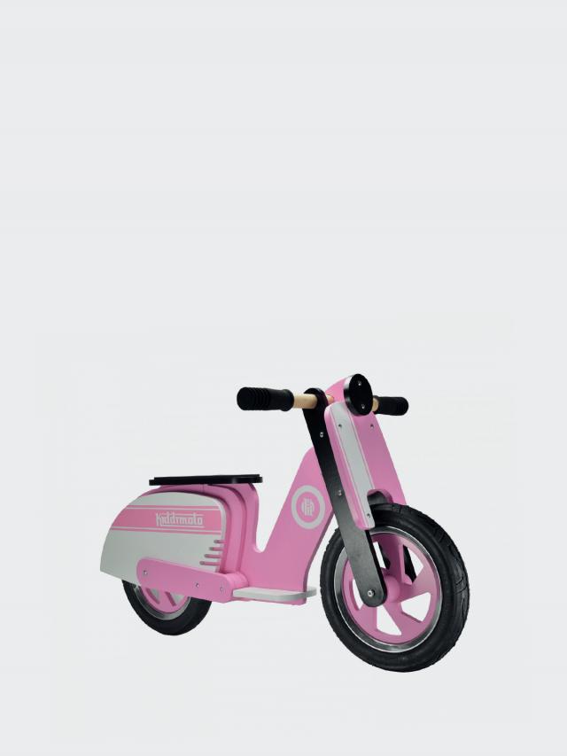 kiddimoto 木製經典偉士牌平衡車 - 粉紅騎士