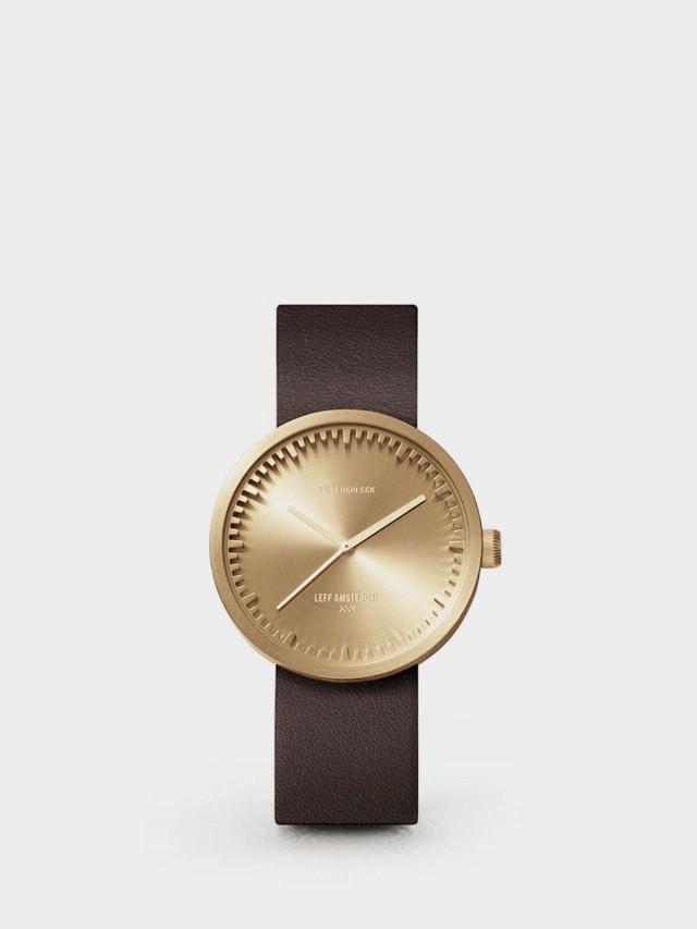 LEFF amsterdam tube 北歐工業齒輪設計真皮腕錶 - 38 mm 黃銅 / 棕皮帶