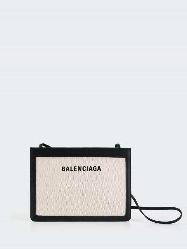 BALENCIAGA LOGO NAVY 黑白字母拼皮帆布包