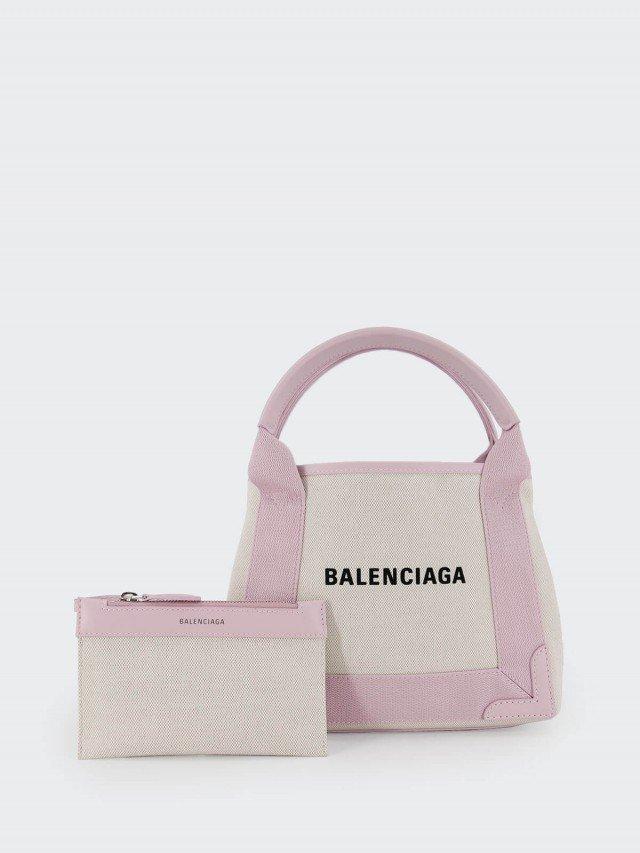 BALENCIAGA NAVY Cabas xs 帆布子母兩用包 x 粉紅