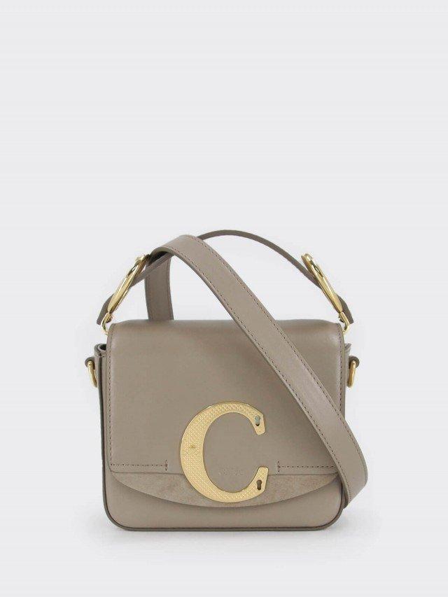 Chloé mini C bag 菱格紋金屬釦 LOGO 滑面皮革手提 / 肩背方包 x 大象灰