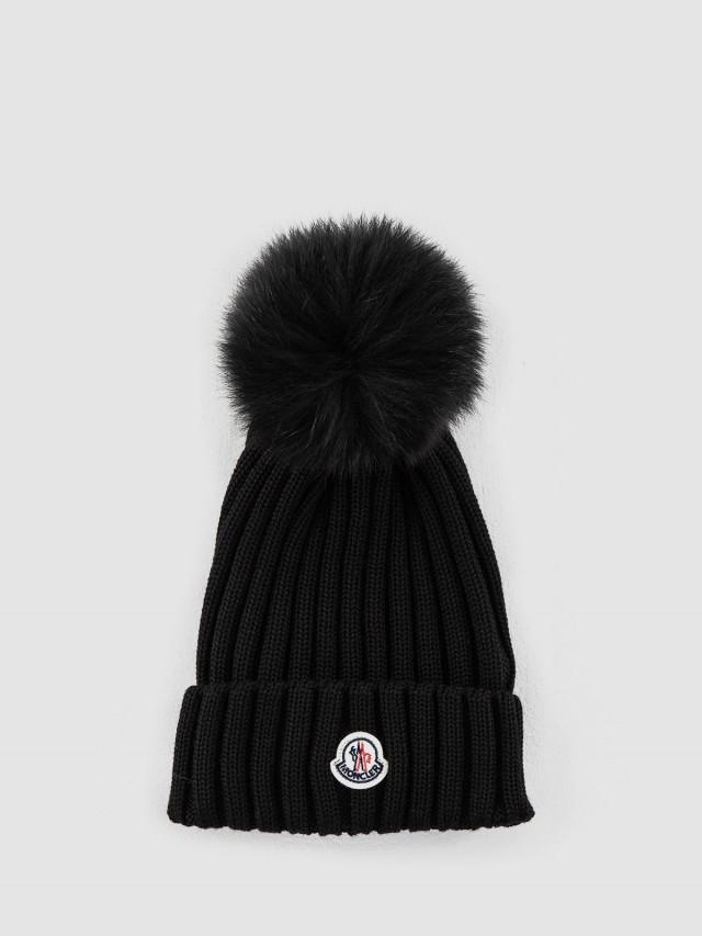MONCLER 羊毛線條設計針織毛帽 - 黑