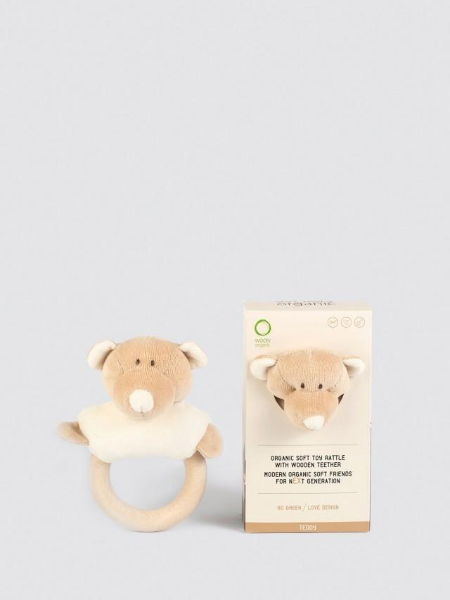 Wooly Organic 有機棉絨咬咬木質固齒環 - 丹丹熊