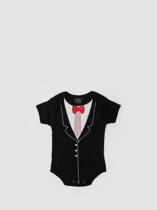 Frenchie mini couture 男嬰連身衣 - 紅領結燕尾服 / 短袖