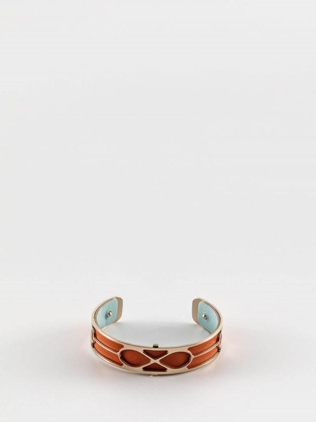 Les Georgettes 金色細版無限紋手環 + 細版手環皮革橘 / 藍