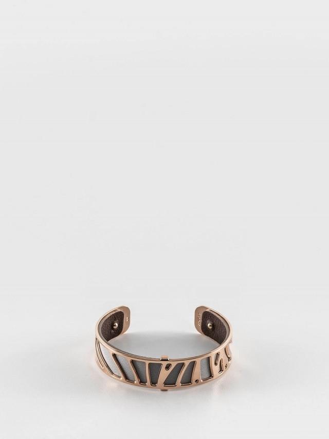 Les Georgettes 玫金色細版鸚鵡紋手環 + 細版手環皮革淺灰 / 深咖