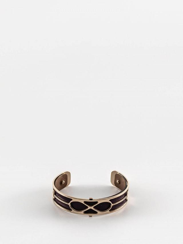 Les Georgettes 金色細版無限紋手環 + 細版手環皮革深紫 / 淺棕