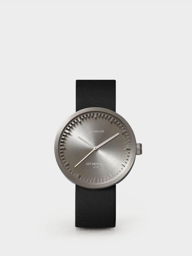 LEFF amsterdam tube 北歐工業齒輪設計真皮腕錶 - 42 mm 不鏽鋼 / 黑皮帶
