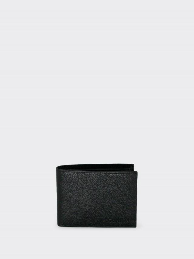 Calvin Klein CK 荔枝紋全皮壓字雙折零錢袋短夾 x 黑