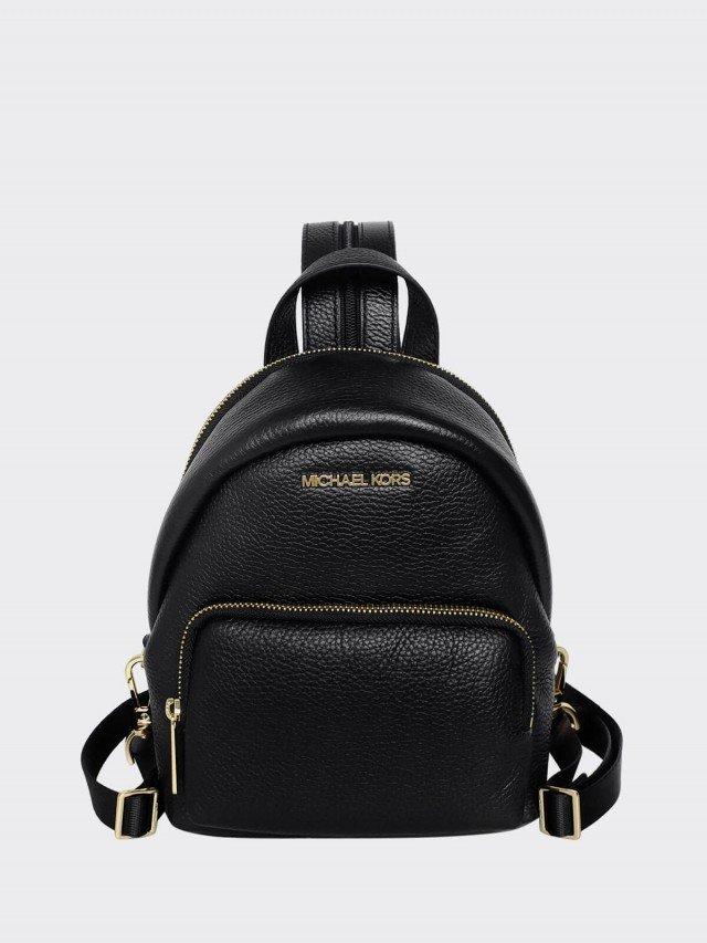 MICHAEL KORS 黑色荔枝紋全皮小款單肩 / 雙肩兩用後背包