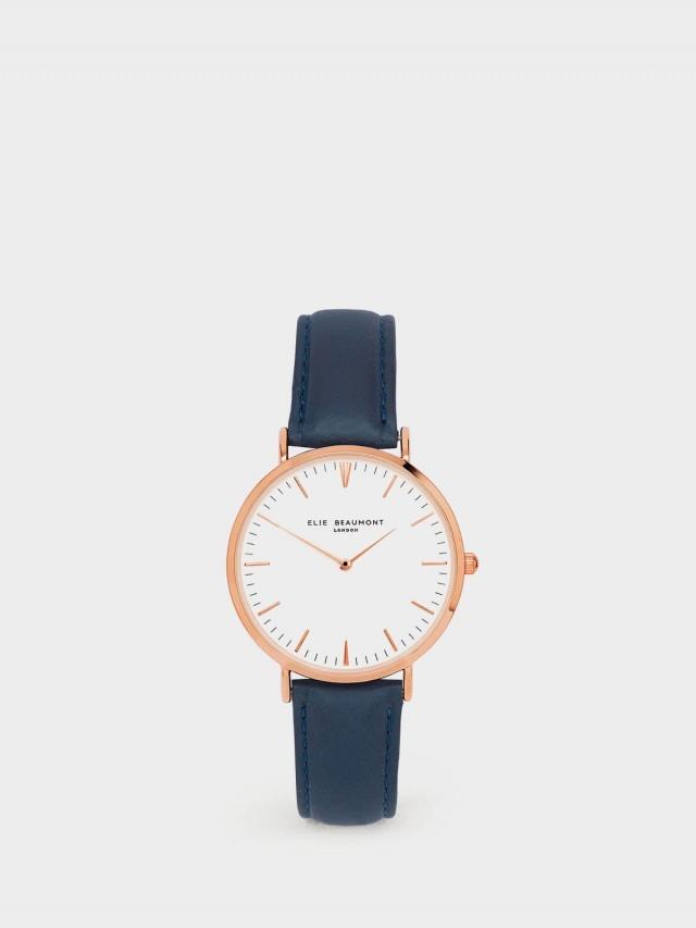 ELIE BEAUMONT 牛津系列 白錶盤 x 深藍皮革錶帶 x 玫瑰金錶框 38 mm