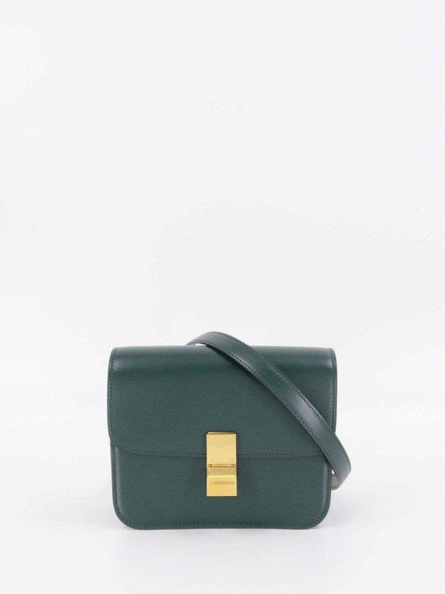 CELINE CLASSIC BOX MINI 天然牛皮金釦肩背 / 斜背包 x 亞馬遜綠