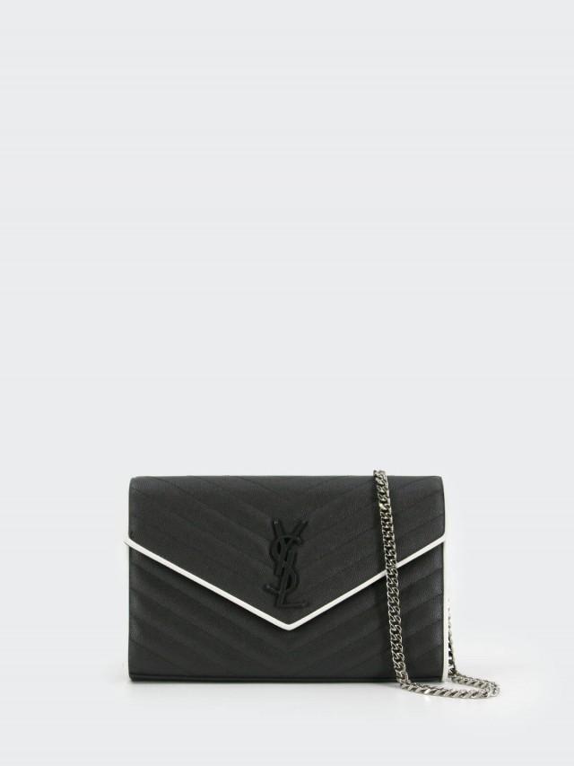 Saint Laurent YSL V 字縫線斜紋白邊框牛皮黑色金色 LOGO 銀鍊斜肩 / 手拿包 - 大 x 黑