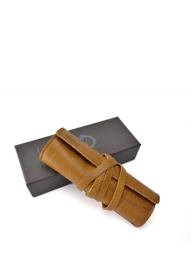 Manufactus 義大利真皮筆袋 - 棕色