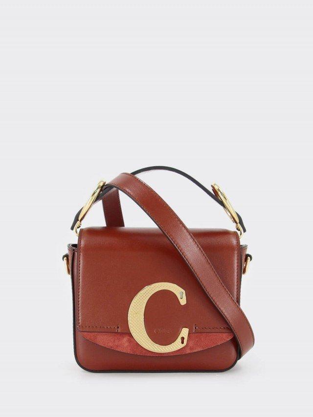 Chloé mini C bag 菱格紋金屬釦 LOGO 滑面皮革手提 / 肩背方包 x 紅棕色