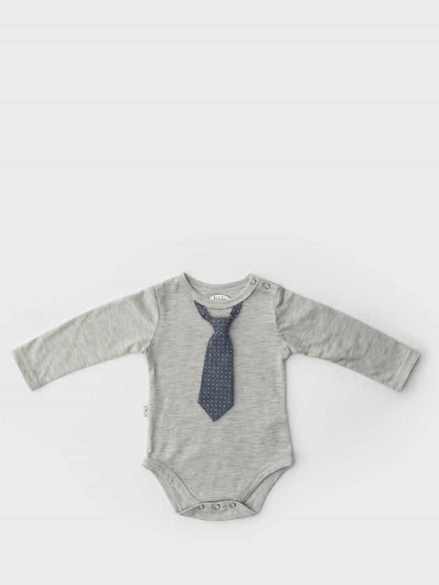 Frenchie mini couture 男嬰連身衣 - 小雅痞領帶 / 淺灰長袖