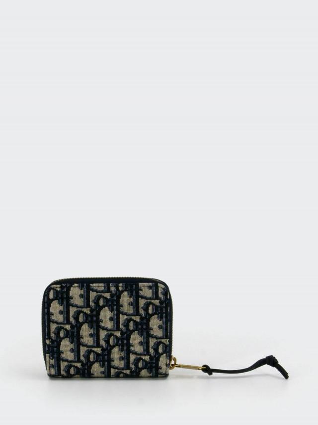 Dior Oblique 藍色緹花帆布 voyageur 拉鍊短夾