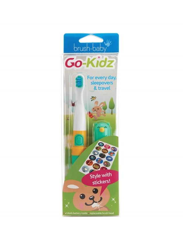 brush-baby 外出攜帶型 GoKidz 聲波電動牙刷 x 粉綠