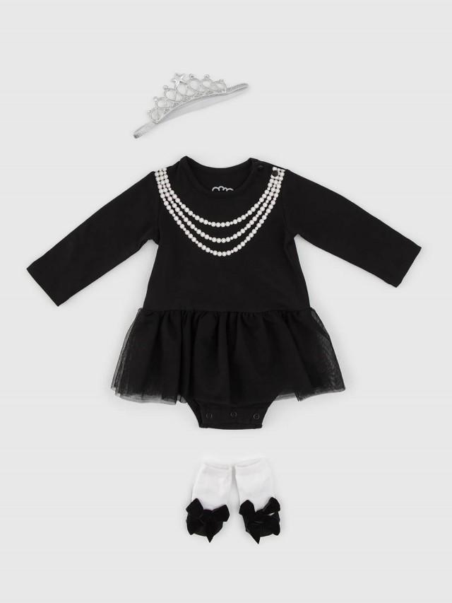 日安朵朵 女嬰雪紡蓬蓬裙連身衣禮盒 - 奧黛莉赫本 / 長袖