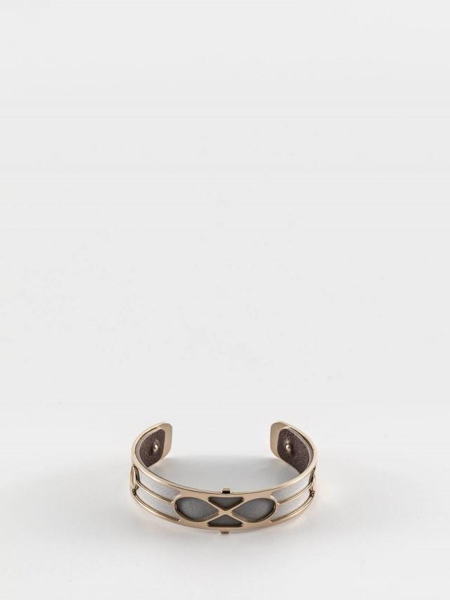 Les Georgettes 金色細版無限紋手環 + 細版手環皮革淺灰 / 深咖