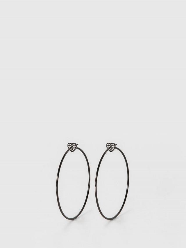 FALA 水鑽愛心環形耳環 x 黑銀